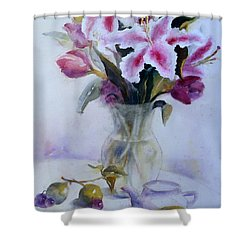 Flower Bouquet With Teapot And Fruit Shower Curtain