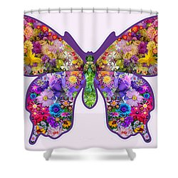 Flower Butterfly Shower Curtain by Alixandra Mullins