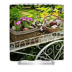 Flower Cart In Garden Shower Curtain by Elena Elisseeva