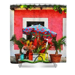 Flower Cart San Juan Puerto Rico Shower Curtain by Susan Savad