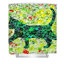 Flower Cat Shower Curtain