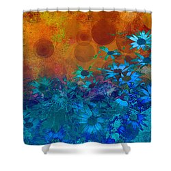 Flower Fantasy In Blue And Orange  Shower Curtain by Ann Powell