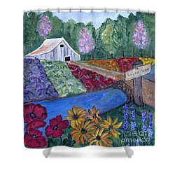 Shower Curtain featuring the painting Flower Farm -poppies Daisies Lavender Whimsical Painting by Ella Kaye Dickey