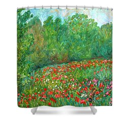 Flower Field Shower Curtain by Kendall Kessler