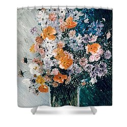 Shower Curtain featuring the painting Flower Field by Sorin Apostolescu