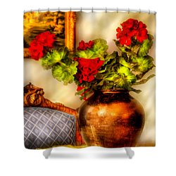 Flower - Geraniums On A Table  Shower Curtain by Mike Savad