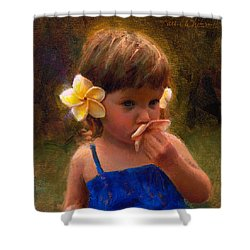 Flower Girl - Tropical Portrait With Plumeria Flowers Shower Curtain