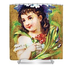 Flower Girl Shower Curtain by Vintage Trading Cards