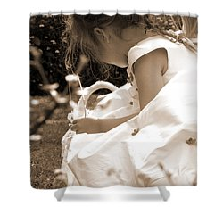 Flower Girls In Sepia Shower Curtain by Terri Waters