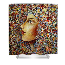 Shower Curtain featuring the painting Flower Goddess. by Natalie Holland