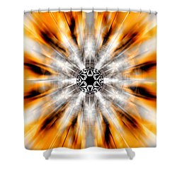 Shower Curtain featuring the drawing Flower Grid Sixty-three by Derek Gedney