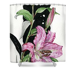 Shower Curtain featuring the painting Flower Lily 02 Elena Yakubovich by Elena Yakubovich