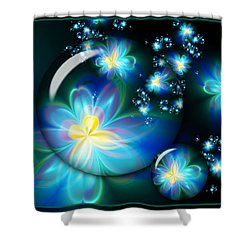 Flower Marble Fractal Shower Curtain by Lena Auxier