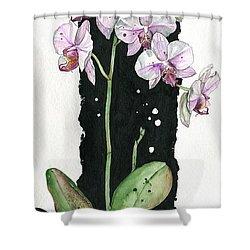 Shower Curtain featuring the painting Flower Orchid 02 Elena Yakubovich by Elena Yakubovich