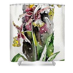 Shower Curtain featuring the painting Flower Orchid 03 Elena Yakubovich by Elena Yakubovich