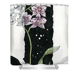 Shower Curtain featuring the painting Flower Orchid 04 Elena Yakubovich by Elena Yakubovich