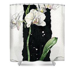 Shower Curtain featuring the painting Flower Orchid 05 Elena Yakubovich by Elena Yakubovich