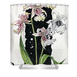 Shower Curtain featuring the painting Flower Orchid 06 Elena Yakubovich by Elena Yakubovich