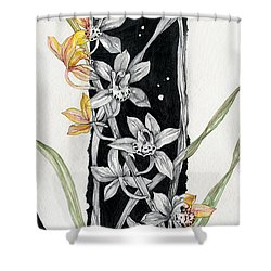 Flower Orchid 07 Elena Yakubovich Shower Curtain by Elena Yakubovich