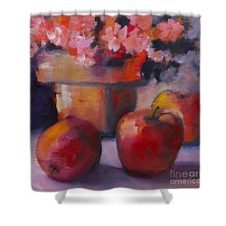 Shower Curtain featuring the painting Flower Pot And Apples by Michelle Abrams