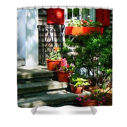 Flower Pots And Red Shutters Shower Curtain by Susan Savad