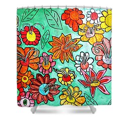 Shower Curtain featuring the painting Flower Power by Artists With Autism Inc