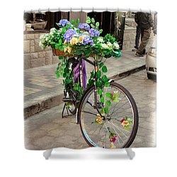 Flower Power Meets Pedal Power  Shower Curtain