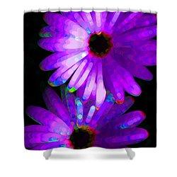 Flower Study 6 - Vibrant Purple By Sharon Cummings Shower Curtain by Sharon Cummings