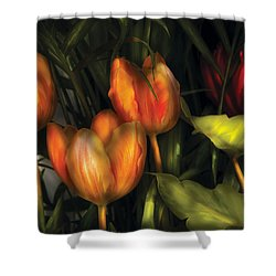 Flower - Tulip -  Orange Irene And Red  Shower Curtain by Mike Savad
