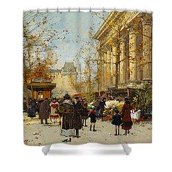 Flower Walk Shower Curtain by Eugene Galien-Laloue