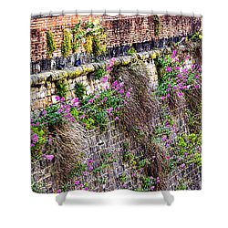 Flower Wall Along The Arno River- Florence Italy Shower Curtain by Jon Berghoff