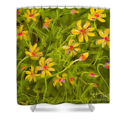 Shower Curtain featuring the painting Flowerfield by Go Van Kampen