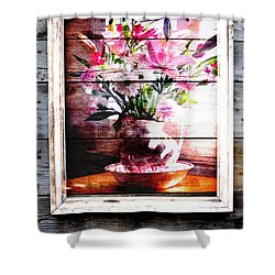 Flowers And Wood Shower Curtain
