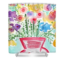 Flowers For Mom- Mother's Day Card Shower Curtain by Linda Woods