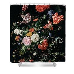 Flowers In A Glass Vase, Circa 1660 Shower Curtain by Jan Davidsz de Heem