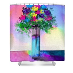 Shower Curtain featuring the digital art Flowers In A Glass Vase by Frank Bright