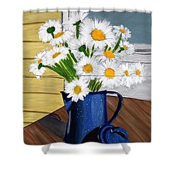 Flowers In A Teapot Shower Curtain by Laura Forde