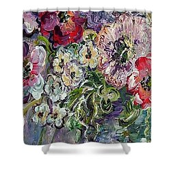 Shower Curtain featuring the painting Flowers In An Antique Blue Vase by Eloise Schneider