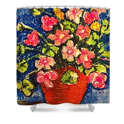 Flowers In Orange Pot Shower Curtain