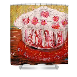 Shower Curtain featuring the painting Flowers In The Frosting by Mary Carol Williams