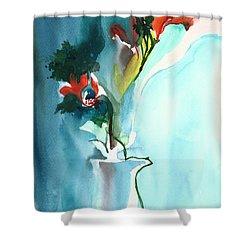 Flowers In Vase Shower Curtain by Anil Nene