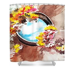 Flowers N Sky Shower Curtain by Anil Nene