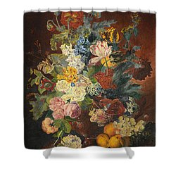 Shower Curtain featuring the painting Flowers Of Light by Mary Ellen Anderson