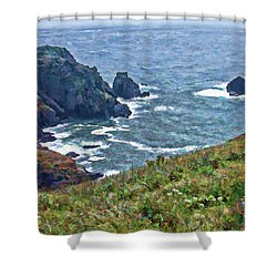Flowers On Isle Of Guernsey Cliffs Shower Curtain