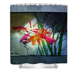 Shower Curtain featuring the digital art Flowers On Parchment by Absinthe Art By Michelle LeAnn Scott