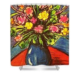 Flowers On Red Table Shower Curtain