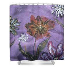 Flowers On Silk Shower Curtain