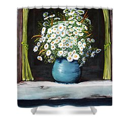 Flowers On The Ledge Shower Curtain