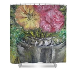 Shower Curtain featuring the painting Flowers by Teresa White