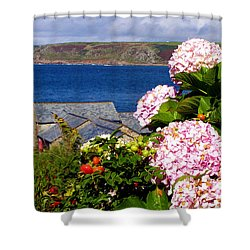 Flowers With A Sea View Shower Curtain by Terri Waters